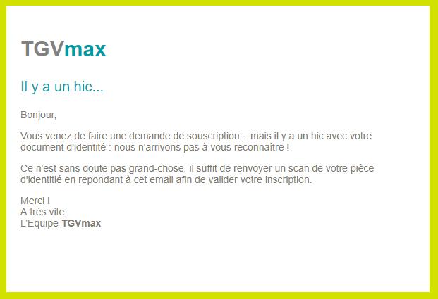 TGVmaxの情報が欠けていた際のメール