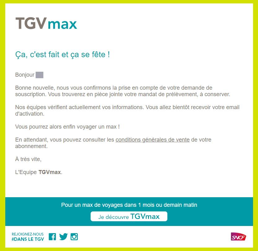 TGVmax申し込み時に来るメール
